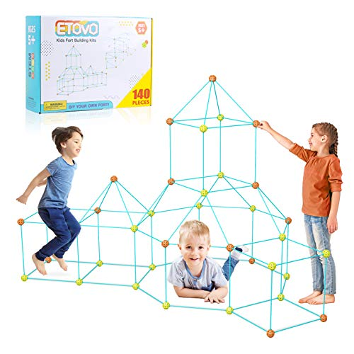 ETOVO Kids Fort Building Kit 140 Pieces Ultimate Construction Fort Builder Kits Gift Toys for 5-12 Year Old Boys Girls DIY Build Castles Tunnels Play Tent Rocket Airplane Tower Indoor & Outdoor