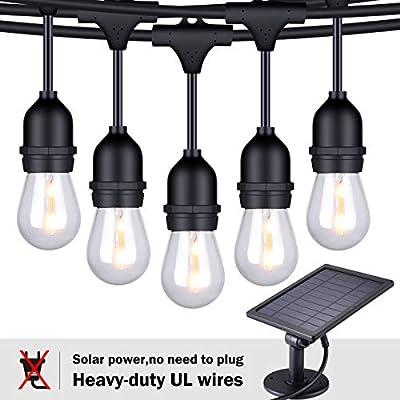 FOXLUX Solar String Lights - 48 ft LED Outdoor String Lights - Shatterproof, Waterproof Pergola Lights - 15 Hanging Sockets, Light Sensor, S14 Edison Bulb - Decor for Patio, Backyard, Garden - Update