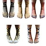 Iceyyyy 5 Pair Animal Paw Socks - Novelty Funny 3D Printed Animal Paw Crew Socks for Men, Women and Teenage