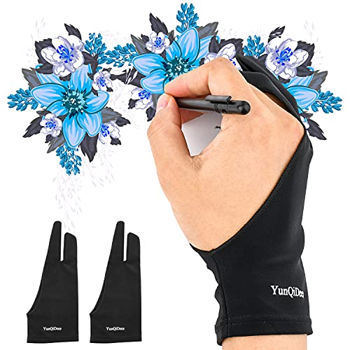 YunQiDeer Two-Finger Glove for Drawing Tablet/Light Box/Tracing Light Pad/Graphics Pad Painting, Free Size Artist's Drawing Glove, Artist Gloves Good for Right Hand or Left Hand(2 Pieces)