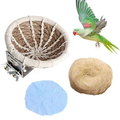 kathson Hemp Rope Weave Bird Breeding Nest Bed for Parakeet Cockatiel Canary Lovebird and Small Parrot Cage Hatching Nesting Box
