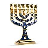 JL Kippha's - Portavelas Decorativo de Color Azul y Dorado, diseño de Menorá de 7 Rama con símbolo judío de Israel