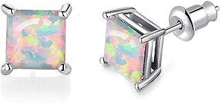 Airmoly Square Shape Opal Stud Earrings 14K White Gold Plated Opal Jewelry For Women Men Girls 6mm