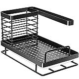 Oriware Organizador Sink Caddy Soporte para Utensilios de Cocina para el Fregadero Acero Inoxidable - 25 x 15 x 15 cm (Negro)