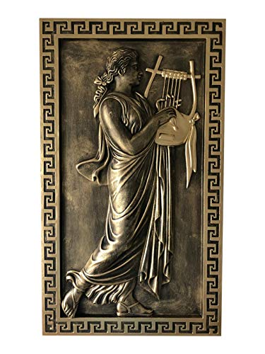 Griechisches Wandbild Frau mit Harfe Wandrelief Mäandermuster Gold