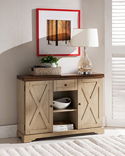 Kings Brand Furniture Console Table, Antique White/Walnut