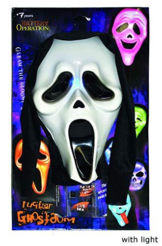 Funny Fashion Horror Scream Geister Maske - beleuchtet - Gruselige Halloween Maske mit Kapuze Haube