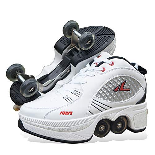 PLMOKN Rollschuhe Mädchen Quad Roller Skates Damen Skate Roller ,2-in-1- Skate Schuhe Sportschuhe Multifunktionale Deformation Schuhe Für Mädchen Unsichtbare Schuhe Fersenroller Kinder,W-41
