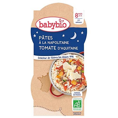 Babybio - Bonne Nuit - Bols Pâtes à la Napolitaine Tomate d'aquitaine - 2x200 g - 8+ Mois - BIO - Lot de 3
