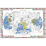 Dekali Designs Kids World Map Coloring Poster - 35 x 52 Inches Jumbo Coloring...