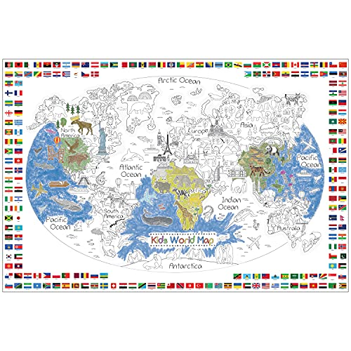 Dekali Designs Kids World Map Coloring Poster - 35 x 52 Inches Jumbo Coloring Poster With World Flags for Classroom, Home, Birthday Parties or Other Events