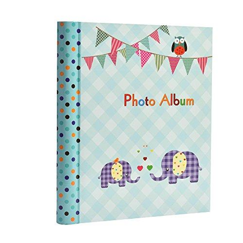 Fotoalbum für Jungen, groß, selbstklebend, 20 Blatt, 40 Seiten, Elefantenmotiv, Blau