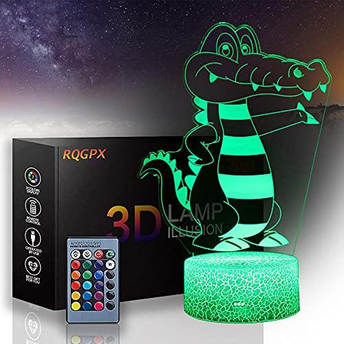 Pokemon 3D luz de noche para niños Krookodile ilusión lámpara juguete 16 colores cambio automático interruptor táctil decoración escritorio lámparas regalo cumpleaños con control remoto