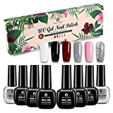Smalti per Unghie Set(8pzs), Gel Unghie, Gel Colorati per Unghie UV, Kit Semipermanente Unghie, Smalto Semipermanente per Unghie con Base Coat Top Coat per UV LED Set Manicure, 6.5ml BP002…