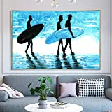 YuanMinglu Abstract Surf Poster on The Seaside Lienzo de Pared Arte de la Pared Dormitorio Pared Paisaje Marino Abstracto Pintura Decorativa Pintura sin Marco 30x45cm
