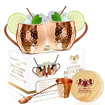 [Gift Set] The Best Moscow Mule Mugs -Set Of 2- Made of REAL 100% Pure Copper Guaranteed Each mug is HANDCRAFTED and Unique - Food Safe Pure Solid Copper Cups- 16 Oz Moscow Mule Gift Set