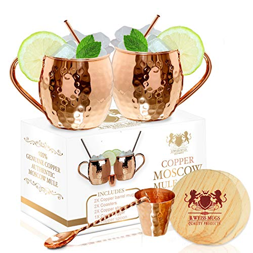 The Best Moscow Mule Mugs -Set Of 2- Made of REAL 100% Pure Copper Guaranteed, Each mug is HANDCRAFTED and Unique - Food Safe Pure Solid Copper Cups- 16 Oz Moscow Mule Gift Set