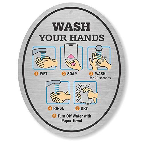 SmartSign Wash Your Hands Sign | 4' x 5' Aluminum Diamond Plate Door Sign