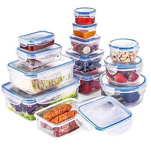 QCen Recipientes de Plástico Alimentos 26 Pieza (13 envase, 13Transparente Tapa) Juego De Contenedores Herméticos, Loncheras Sin BPA, Aptas para Lavavajillas, Aptas para Microondas, Congelador