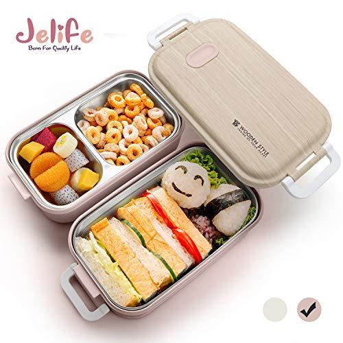 Rosado JIASHA Onchera,Infantil Lunch Box,Almuerzo de Pl/ástico Caja de Bento,1400ml de Almuerzo a Prueba de Fugas para Bento Box con 3 Compartimentos y Cubiertos para Microondas y Lavavajillas
