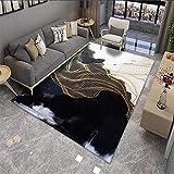 Alfombra Pelo Corto Habitación Infantil, Nube de Humo Negro Apto para calefacción por Suelo Radiante, 100X200cm (39X79inch)