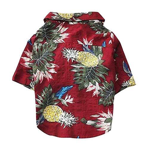 YYMMQQ Haustierkleidung Hundebekleidung Sommer Strandhemd Hund Süßer Druck Hawaii Strand Lässig Haustier Reisehemd Ananas Blumen Kurzarm Hund Katze Bluse, D, M