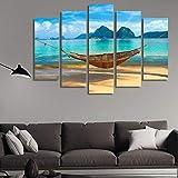 Yftnipl 5 Piezas De Pared Fotos Cuadros En Lienzo Hamaca Playa Marimegmeg Bacuit Hd Imprimir Modern Artwork Decoración De Arte De Pared Living Room