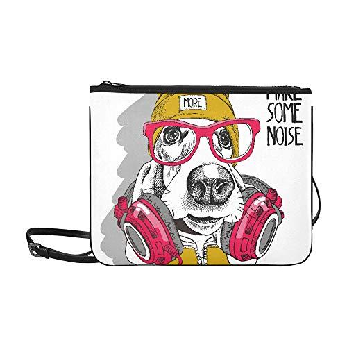 N\A Cross Bodies Bolsas Basset Hound Dog Gafas rojas Amarillo Correa de hombro ajustable Hombro Crossbody Bag Para mujeres Niñas Damas Cremallera Cross Body Bag Bolsos para adolescentes