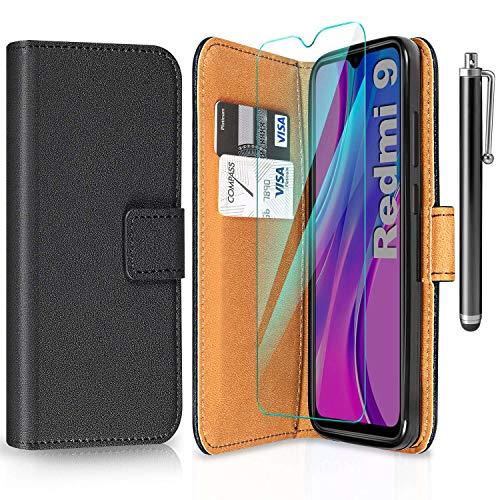 ivencase Funda Compatible con Xiaomi Redmi 9 y Protector de Pantalla y Pen, Libro Caso Cubierta la Tapa magnética Protector de Billetera Cuero de la PU Carcasa - Negro