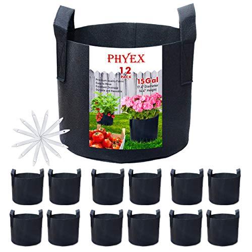 PHYEX 12 Piece 15 Gallon Non-Woven Fabric Grow Bag Set