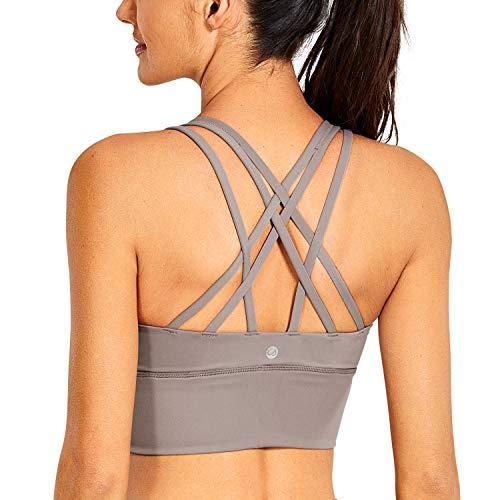 CRZ YOGA Strappy Sports Bras for Women Longline Wirefree Padded Medium Support Yoga Bra Top Lunar Rock Small