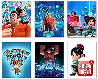 Ralph Breaks The Internet Poster Prints - Set of 6 (8x10) Wall Art Photos - Wreck It Ralph - Vanellope von Schweetz - Sugar Rush - Decor - Gift Ideas