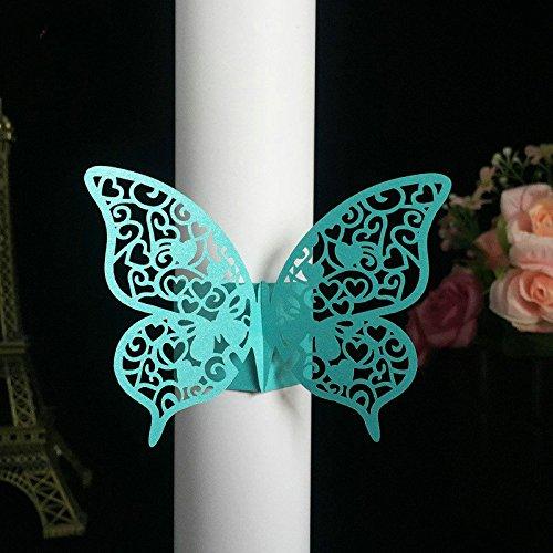 Set von 50Kleine Geschenke Hochzeit Serviettenhalter Laser geschnitten Schmetterling Serviette Ring Papier Serviette Ring für Hochzeit Dekoration durch sopeace blau