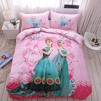 Casa 100% Cotton Kids Bedding Set Girls Frozen Elsa and Anna Princesses Pink Duvet Cover and Pillow Cases and Flat Sheet,4 Pieces,Queen