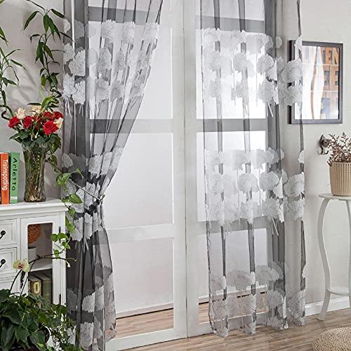 Tonsee Transparent Voile Gardinen Mode Blumen Gedruckt Durchsichtig Vorhänge mit Ösen für Wohnzimmer Schals Schlafzimmer Kinderzimmer Dekoschals für Große Fenster 1PCS,200cm x 100cm (P)