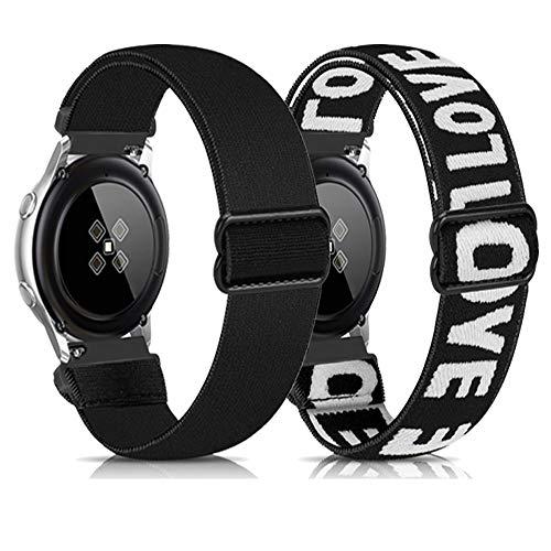 Zoholl Correa de nailon compatible con Garmin Vivoactive3 / Galaxy Watch Active2 40 mm 44 mm Galaxy Watch 42 mm, suave y transpirable (20 mm negro + blanco Word)