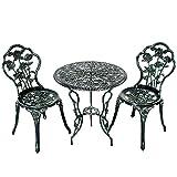 GIANTEX-Juego de Mueble de Jardín de 3 Piezas con 2 Sillas, de Aluminio, Estilo Retro, Apto para Jardín, Terraza o Parque,Color Verde Bronce