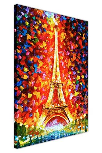 Stampa astratta della torre di Eiffel, di Leonid Afremov, su tela, da parete, poster d'arte moderna, formato A2, 60 cm x 40 cm