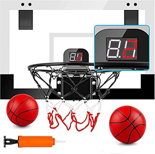 PELLOR Canasta de Baloncesto, Tablero Baloncesto Juego Al Aire Libre y Interior Oficina Mini Aro de Baloncesto con Función de Puntuación y Balón para Niños Infantils