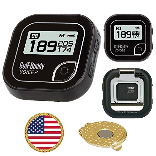 Find Discount GolfBuddy Voice 2 Golf GPS/Rangefinder Bundle with Ball Marker and Magnetic Hat Clip