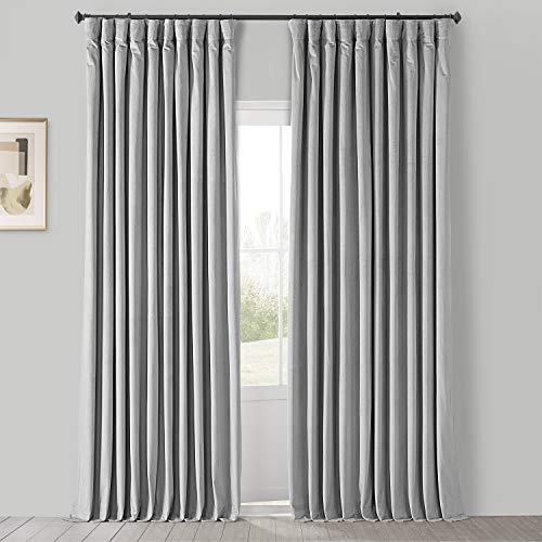 HPD Half Price Drapes VPCH-VET160401-96 Signature Extra Wide Blackout Velvet Curtain (1 Panel), 100 X 96, Reflection Grey
