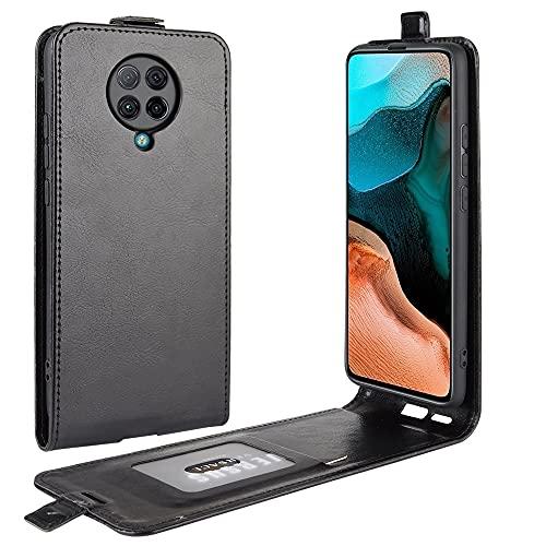 Liluyao Funda telefónica para Xiaomi For la Caja Protectora Xiaomi redmi K30 Pro R64 Solo Textura Vertical del Cuero del tirón con Las Ranuras for Tarjeta y Marco de Fotos (Color : Black)