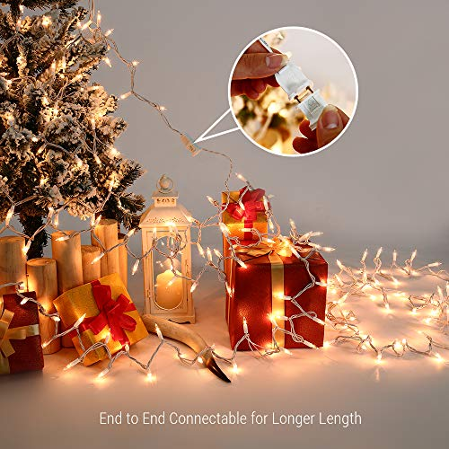 Brizled Christmas Lights, 300 Count 69.6ft Incandescent Mini Christmas Lights, Connectable 120V UL Certified Clear Christmas Tree Lights for Xmas, Wedding, Bedroom, Porch Decor, White Wire, Warm White