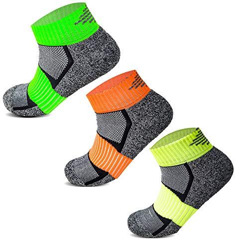 Socksology® Multipack Damen Sportsocken mit gepolsterter Sohle, maschinenwaschbar, 6 Paar, Grau / Neongrün / Orange