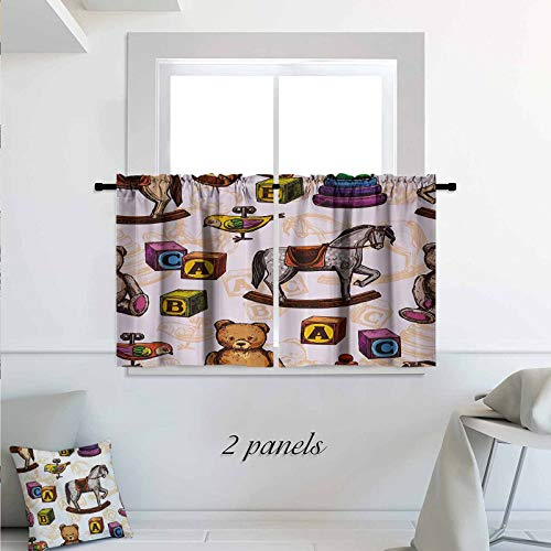 Vintage Short Panels for Kitchen Bathroom Retro Style Kids Toys Rocking Horse Teddy Bear and Bird Illustration Print Print Rod Pocket Small Window Curtain for Bathroom 30 x 30 inch Brown and Grey