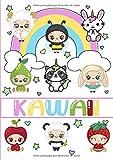 Kawaii: Libro de colorear kawaii, lindo y fácil: 40 divertidas y relajantes páginas para colorear pa...