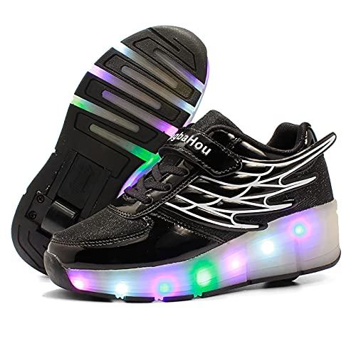 AMXSML Led Luces Zapatos con Ruedas para Pequeños Niños y Niña Automática Calzado de Skateboarding Aire Libre Zapatillas de Deporte Moda,Negro,38EU