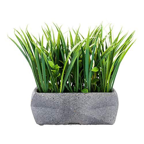 6.3 x 10.2 Inch Faux Succulent Arrangement, 1 Realistic Artificial Succulent - In Gravel Concrete Planter, Use As Table Decor, Shelf Decor, Or Centerpiece, Plastic Fake Desk Plant, Rectangular