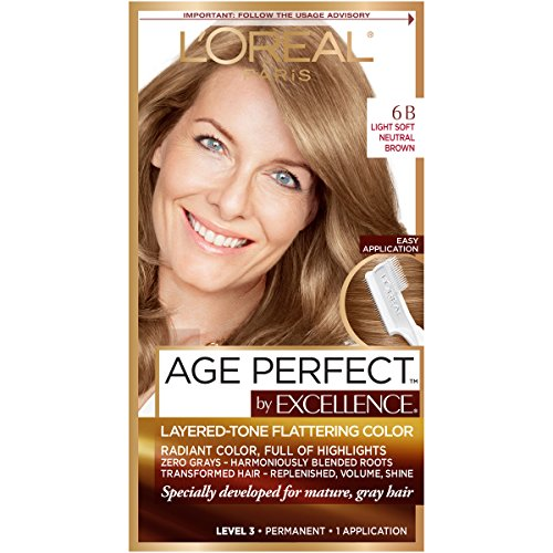 L'Oreal Paris ExcellenceAge Perfect Layered Tone Flattering Color, 6B Light Soft Neutral Brown
