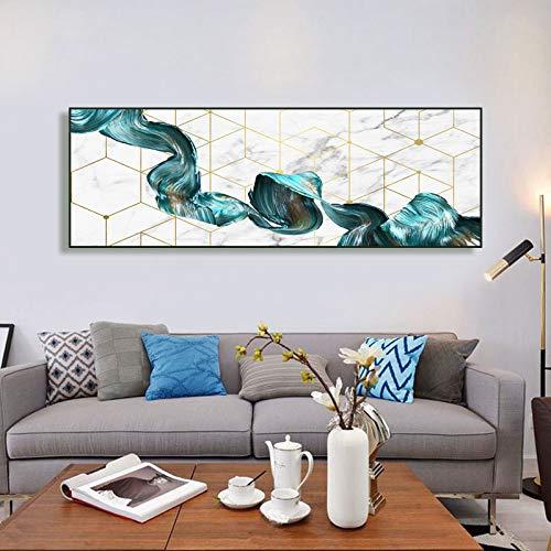 KWzEQ Kunstwohnzimmerdekoration mit abstraktem Marmorölgemälde auf Leinwand auf grünem Streamer,Rahmenlose Malerei,60x180cm
